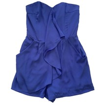 Express Womens Purple Strapless Ruffle Shorts Romper One Piece 2 - $19.80