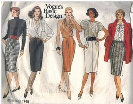 1745 sin Cortar Vogue Patrón de Costura Misses Recto Cónico Falda Básico... - $5.59