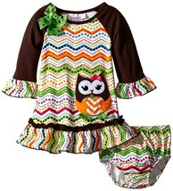 Bonnie Jean Baby Girls 12M-24M Brown/Multi Owl Chevron Stripe L/S Knit Dress