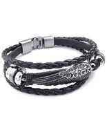 Mens Womens Genuine Leather Bracelet, Angel Wing Braided Cuff Bangle, Blac - $22.09