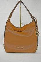 NWT Michael Kors Bedford Belted Leather Shoulder Bag Luggage Brown/ Gold... - $229.00