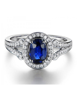 Oval Shape Blue Sapphire 14k White Gold Plated 925 Silver Beautiful Wedding Ring - $80.33
