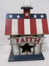 4th of July Patriotic Americana Wood Birdhouse Centerpiece Tabletop Deco... - $29.99
