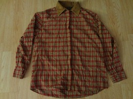 Women's Bobbie Brooks XL (18W) Plaid LS Shirt Button Up Collared Embroidered Red - $13.99