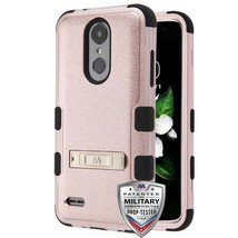 Textured Rose Gold/Black TUFF Hybrid Cover for LG Tribute Empire/Aristo 3 - $13.39