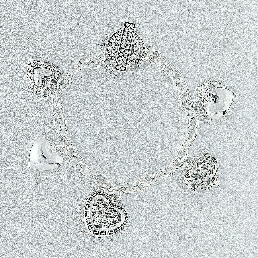 Primary image for Heart Charm Chain Bracelet Antique Silver NEW