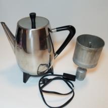 Vintage MCM Retro West Bend Coffee Maker Percolator 6-9 cup Chrome LR2496  - $23.71