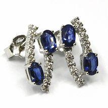 18K WHITE GOLD PENDANT EARRINGS, ALTERNATE OVAL BLUE SAPPHIRES & DIAMONDS image 3