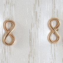 Gelbgold Ohrringe, Pink oder Weiß 750 18K, Symbol Infinito, Länge 1.0 CM image 5