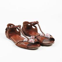 Miu Miu Brown Leather Embellished T Strap Sandals SZ 37.5 - $160.00