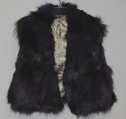 Riflessi Collection Premium Edition WFV11 Medium Purple Black Faux Fur Vest