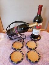 NEW Metal Wine Bottle Holder, 4 Cork Coasters, Cork Bottle Placemat Grap... - €18,48 EUR