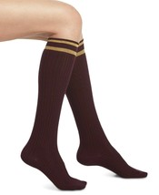 HUE Gold Metallic Stripe Deep Burgundy Cable-Knit Knee High Socks 9-11 NEW