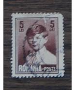 Nice Vintage Used Romania Posta 5 Lei Stamp, GOOD COND - 1940's - $2.96