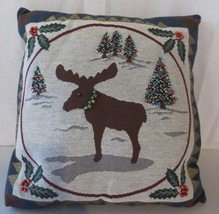 CHRISTMAS DEER MOOSE PILLOW BEAD DECORATIVE PILLOW TREES HOLLY SNOW - $22.50