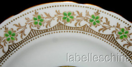 "Aynsley 6"" Bread Side Plate Gold Gilt Green Beaded Fancy B3826 Art Deco ... - $29.65"
