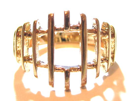 Vintage Graduated Wide Modernist 14K Ge Espo Signed Yellow Gold Plated R... - $11.24
