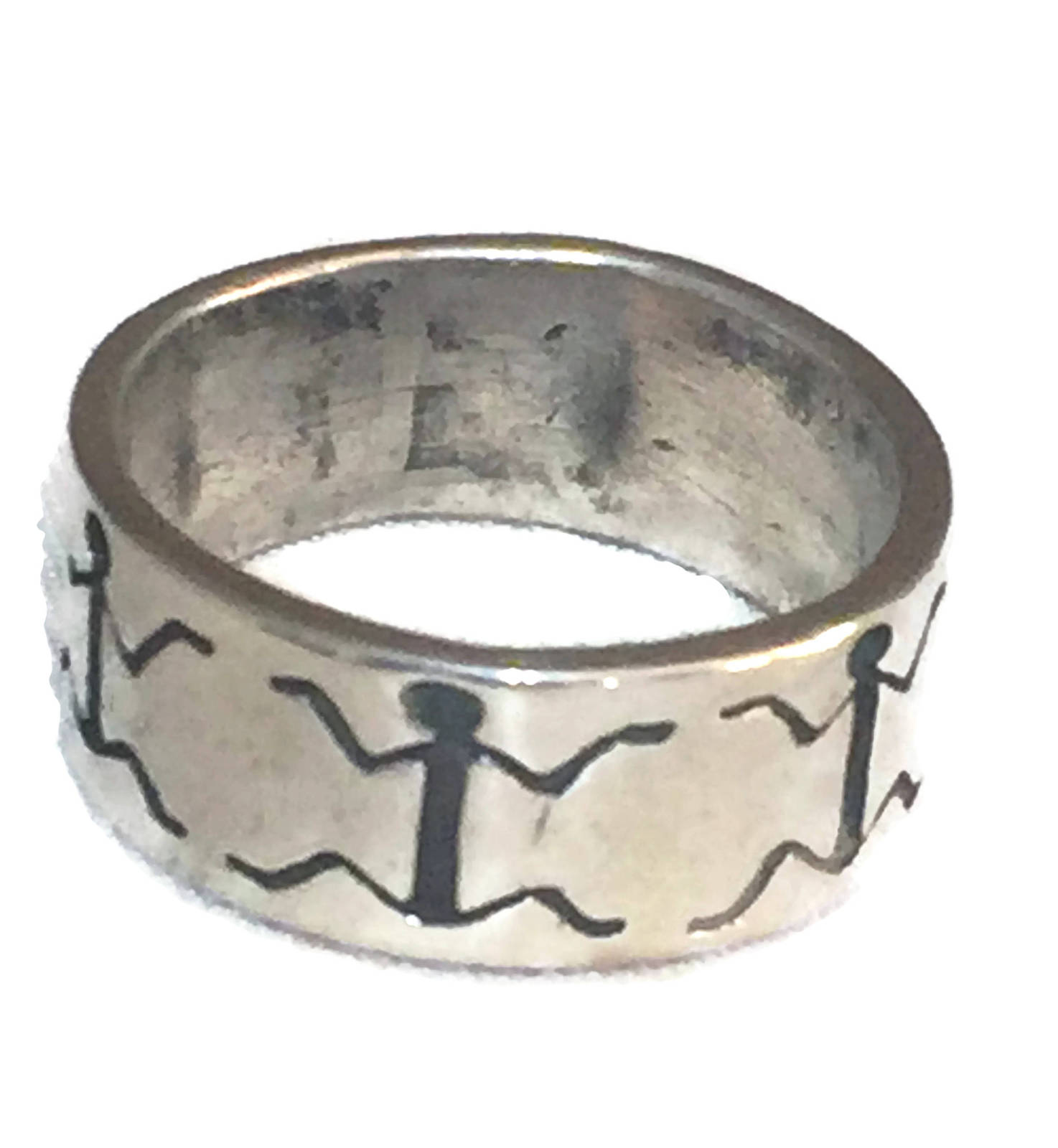Stick Figure Sterling Silver Vintage Figurative Southwest Ring Band Size 8