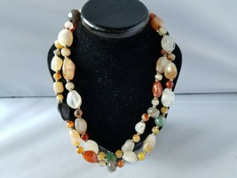 Vintage Stone Glass Bead Necklace Women's Fashion Jewelry Multi-Color - $36.26