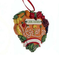 "Kurt Adler Hand Painted 2.5"" Resin ""Certified Vegetarian"" Christmas Ornament - $9.88"
