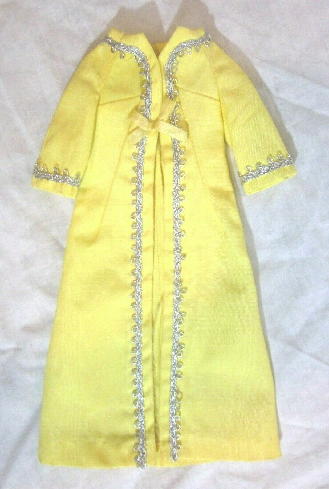 Primary image for Vintage MINT 1969 Yellow Barbie Hostess Coat Silver Polish Evening #1492
