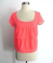 American Eagle Outfitters neon coral pink polka dot blouse top shirt siz... - $19.98