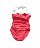 Lauren Ralph Lauren Size 8 One Piece Red Bel Aire Halter Ruched Swimsuit  - $24.75