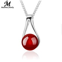 Fashion New Black And Red Natural Stone Silver Pendant For Women Jewelry... - $9.80