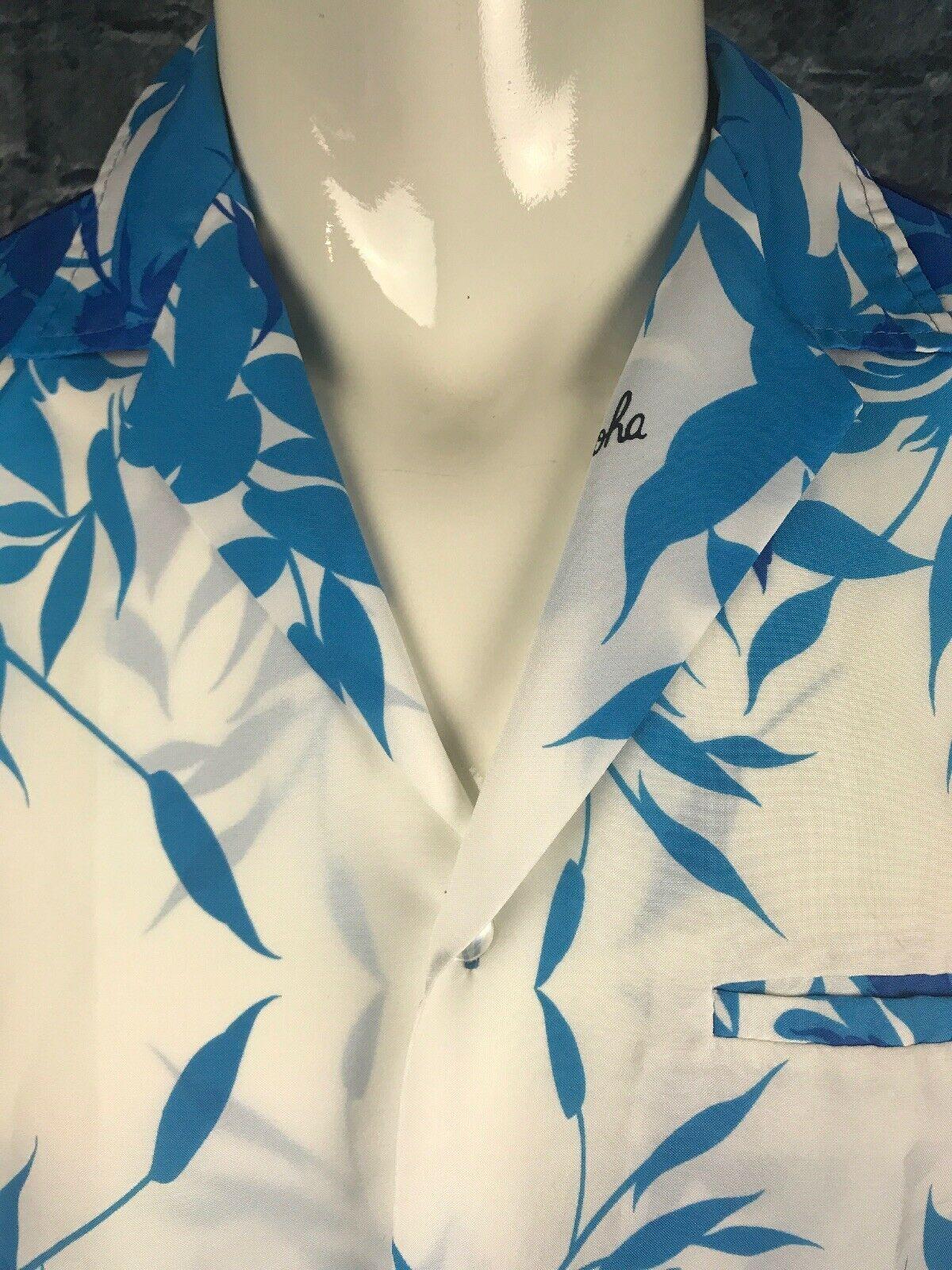 "Vintage Royal Creations Hawaiian Aloha Shirt Large Blue Floral Polyester 23.5"""