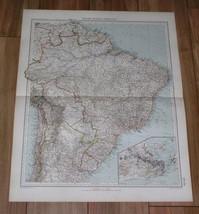 1927 VINTAGE ITALIAN MAP OF BRAZIL RIO DE JANEIRO INSET MAP GUYANA SURINAME - $20.79