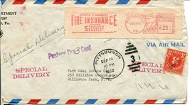 Airmail Special Delivery Mailomat Postage Due Cover 1952   - $15.00