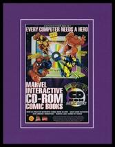 1995 Marvel CD Rom Spiderman X Men Framed 11x14 ORIGINAL Vintage Advertisement - $34.64