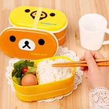 ULKNN 2 Layer Cartoon Rilakkuma Lunch box Bento Plastic - $23.95