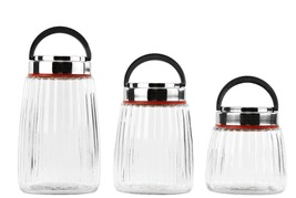 Imperial Home 3 Pc Glass Canister Jars - Cookie Jar Set w/ Carry Handle ... - $17.41