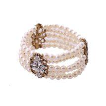 Fashion Layered Simulated Pearl Bracelet Jewelry Women Beaded Elastic Bridal Bra - $15.82