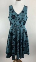 Eva Rose Women Dress Medium ? Blue Floral Velvet Fit And Flare Sleeveles... - $10.11
