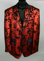Angelino 44L Mens Party Blazer Textured Red Black Bling Black Trim Forma... - $267.29