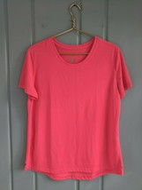 Danskin Semi Fitted Womens XL 16 18 Shirt Neon Pink Coral Athleisure Ath... - $14.50