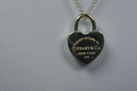 Tiffany & Co. Return to Tiffany Heart Padlock Silver Pendant Necklace - $227.93
