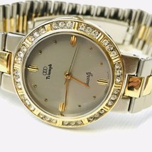 Vintage Triumph Women's Two Tone Watch Silver Gold Crystal Bezel Fresh B... - $27.72