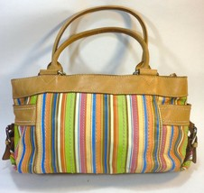 FOSSIL numbered carnival orange blue green leather numbered tote FREE SHIP! - $19.75