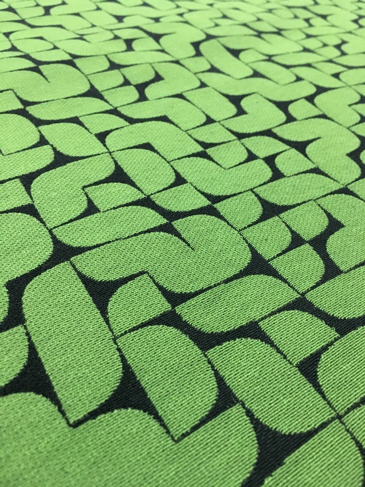 Mid Century Upholstery Fabric Geometric Green and Black 6.125 yds PE