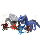 10 Piece Dragon Family Set Mom and Dad 8 Baby Children Dragon Playset, T... - $18.68