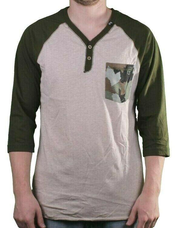 LRG Men's Putty/Heather Up Rise Y-Neck 3/4 Sleeve Henley Raglan Shirt Medium NWT