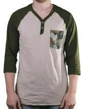 LRG Men's Putty/Heather Up Rise Y-Neck 3/4 Sleeve Henley Raglan Shirt Medium NWT image 1