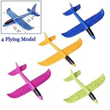 Inchoispace Gliders Foam Airplane Toy for Boys Girls Toddlers, 4PCS Manual Throw