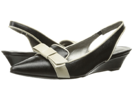 New Bandolino Black Cream Slingback Wedge Pumps Size 8 M $69 - $40.37