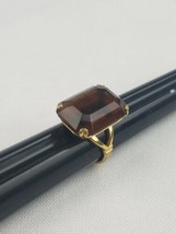 Vintage Avon ring 4.5 faceted brown stone gold tone - $22.77