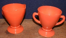 Vintage 1940's Hazel Atlas Ovide Rust Open Sugar Bowl And Creamer Set - $11.87