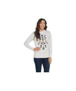 Denim & Co. Crew Neck Long-Sleeve Sweater with Embroidery,Natural,Size M - $24.74